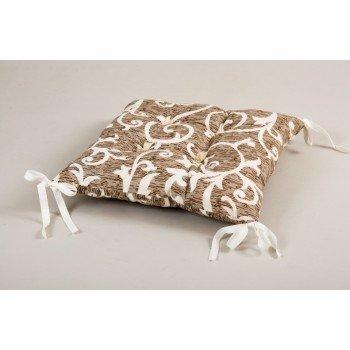 Подушка на стул, табурет с завязками Lotus Jaco кофе, 45х45
