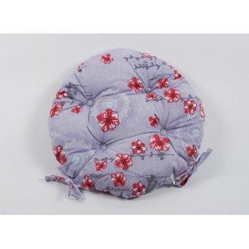 Круглая подушка на стул, табурет с завязками Lotus Osaka серая