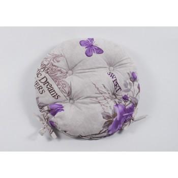 Круглая подушка на стул, табурет с завязками Lotus Ella лиловая