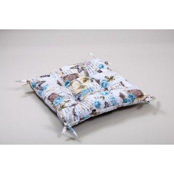 Подушка на стул, табурет с завязками Lotus Juliana бирюзовая, 45х45