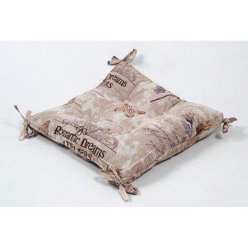 Подушка на стул, табурет с завязками Lotus Ella кофе, 45х45