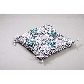 Подушка на стул, табурет с завязками Lotus Queen бирюзовая, 45х45