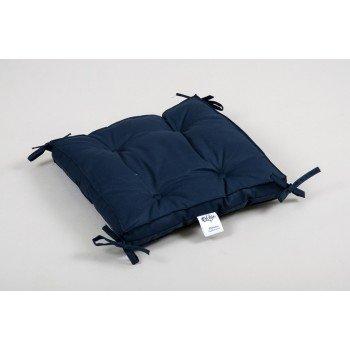 Подушка на стул, табурет с завязками Lotus Optima синяя, 40х40