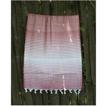 Турецкое полотенце пештемаль для хамама и пляжа Red Micro stripe