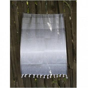 Турецкое полотенце пештемаль для хамама и пляжа Black Micro stripe