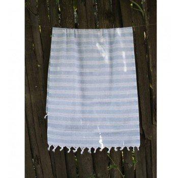 Турецкое полотенце пештемаль для хамама и пляжа Blue Hard stripe