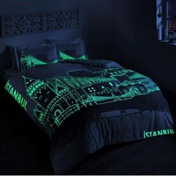 Светящееся постельное белье Glow - Istanbul turkuaz бирюзовый евро
