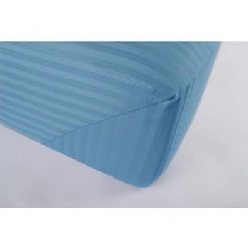 Простынь на резинке сатин страйп голубой Lotus Отель Турция