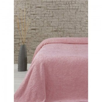 Махровая простынь покрывало полуторная Sun розовая Турция