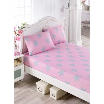 Простынь на резинке с наволочками BigStar розовый