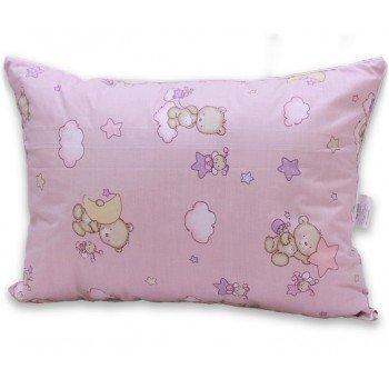 Детская подушка лебяжий пух Мишки розовые