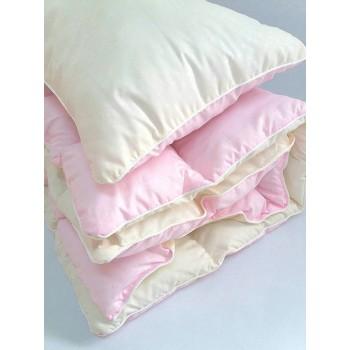 Детское одеяло и подушка в кроватку холлофайбер, розовый, KOP-002