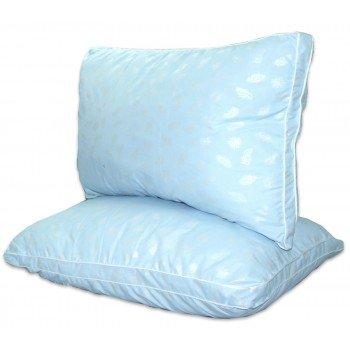 Подушка из лебяжего пуха, антиаллергенная, голубая, с бортом, ПС-037