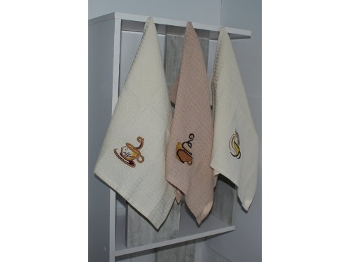 """Набор кухонных вафельных полотенец  """"Кофе"""" 093 от TAG tekstil в интернет-магазине PannaTeks"""
