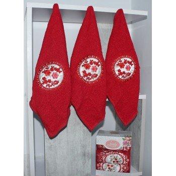Набор полотенец для кухни Lovely красный KN 076 от TAG tekstil в интернет-магазине PannaTeks