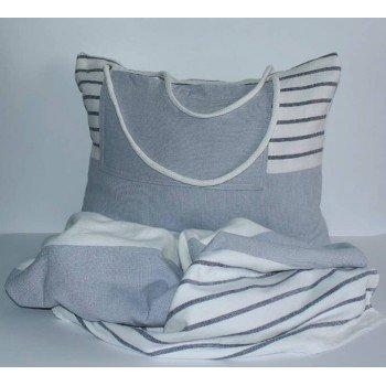 Пляжное полотенце-сумка Серая Полоска