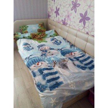 Подростковое постельное белье поплин Снеговики фото 2