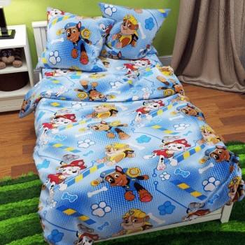 Подростковое постельное белье ранфорс Щенячий Патруль голубой