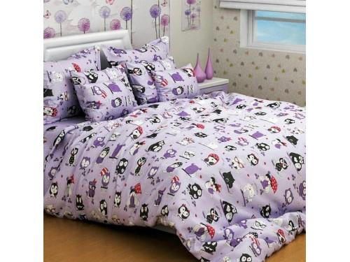 Подростковое постельное белье ранфорс Совята Сиреневые 0931 от TAG tekstil в интернет-магазине PannaTeks