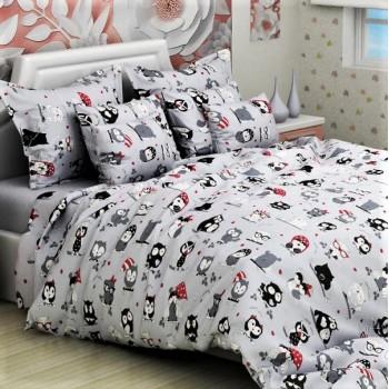 Подростковое постельное белье ранфорс Совята Серые