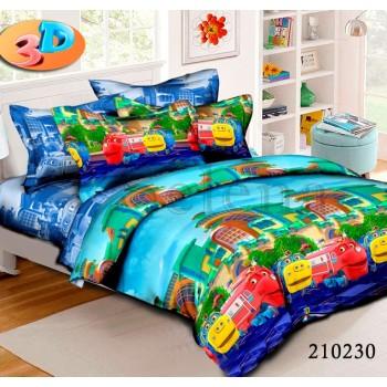 Детское постельное белье для мальчика ранфорс Веселые Паровозики