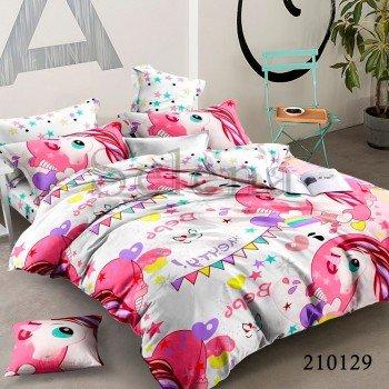Детское постельное белье для девочки ранфорс Единорожки Pink