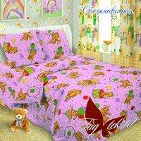 Детское постельное белье поплин Обезьянки розовые