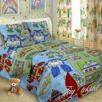 Детское постельное белье поплин Робокар Поли