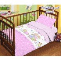Детское постельное белье в кроватку поплин Сладких снов розовое