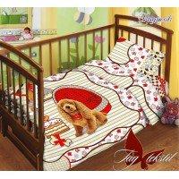 Детское постельное белье в кроватку поплин Дружок