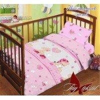 Детское постельное белье в кроватку поплин Ангелочек розовый