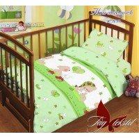 Детское постельное белье в кроватку поплин Мой ангелочек зеленый