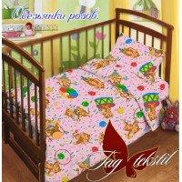Детское постельное белье в кроватку поплин Обезьянки розовые