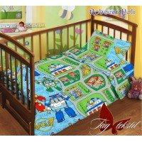 Детское постельное белье в кроватку поплин Robocar Poli