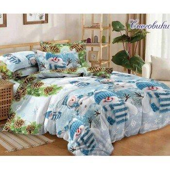 Подростковое постельное белье поплин Снеговики