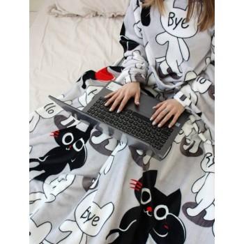Плед с рукавами Толстый Кот микрофибра фото 4