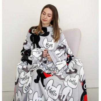 Плед с рукавами Толстый Кот микрофибра фото 5