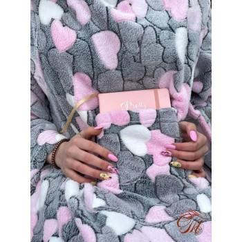 Плед с рукавами Сердечки на Сером микрофибра фото 1