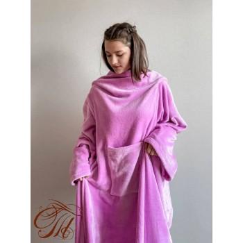 Плед с рукавами Розово-Фиолетовый микрофибра фото 2