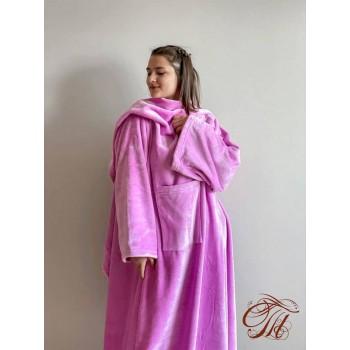Плед с рукавами Розово-Фиолетовый микрофибра фото 4