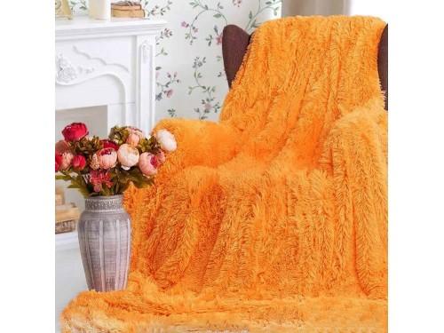 Плед травка с длинным ворсом Оранжевый облегченный 70011 от Koloco в интернет-магазине PannaTeks
