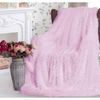 Плед травка с длинным ворсом Светло Розовый облегченный
