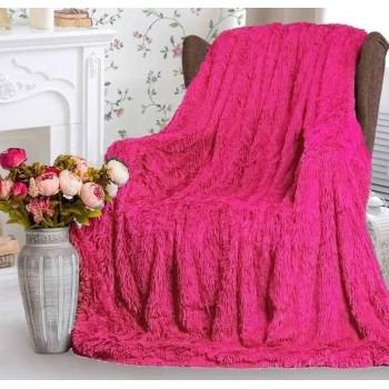 Плед травка с длинным ворсом Ярко Розовый облегченный