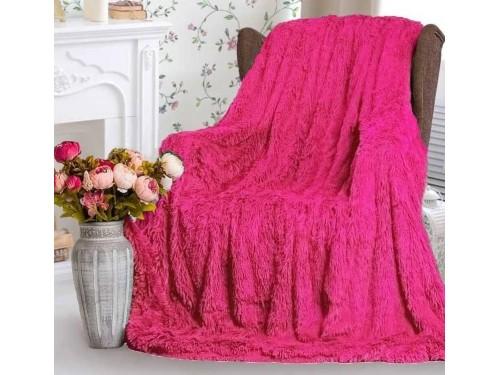 Плед травка с длинным ворсом Ярко Розовый облегченный 70016 от Koloco в интернет-магазине PannaTeks