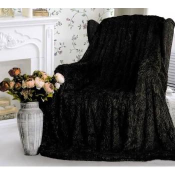 Плед травка с длинным ворсом Черный облегченный 70017 от Koloco в интернет-магазине PannaTeks