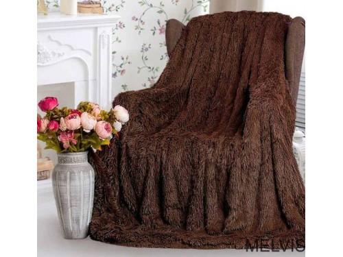 Плед травка с длинным ворсом Шоколад 70020  от Koloco в интернет-магазине PannaTeks