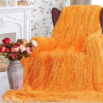 Плед травка с длинным ворсом Оранжевый облегченный