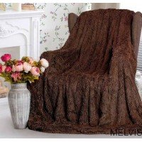 Плед травка с длинным ворсом Шоколад
