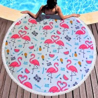 Пляжное покрывало круглое Фламинго и Арбузик