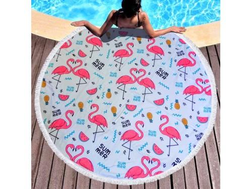 Пляжное покрывало круглое Фламинго и Арбузик 9002 от Colorful Home в интернет-магазине PannaTeks